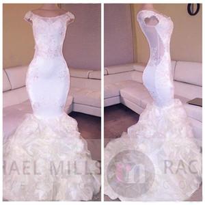 2018 Sheer Cap Lace Appliques Slim Mermaid Prom Dresses Abiti da cerimonia abiti da festa in organza drappeggiati abiti da festa economici personalizzati