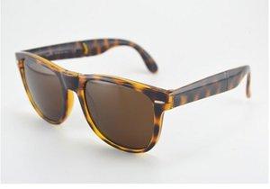 Marca mayorista-diseñador de los hombres de manera plegable gafas de sol con funda de cuero mujeres plegables populares gafas de sol polarizadas, envío gratis