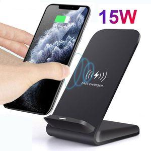15W Carregador sem fio Qi Suporte para iPhone 11 Pro para Samsung S10 S9 Nota 10 9 carregamento rápido Station Dock + QC3.0 Phone Charger