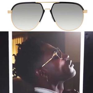 9083 Hot vente de haute qualité des lunettes derniers hommes cadres dames cadres métalliques design de la marque des lunettes de soleil translucides or Graduel gris