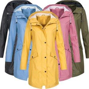 Womens Windrunner all'aperto lungo solido di colore delle signore di modo Trench dal design di lusso con cappuccio femminile Abbigliamento autunno