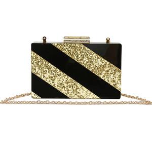 Kadın Messenger Çanta Çanta için Katı Siyah Çizgili Altın Glitter Akrilik Bayanlar Casual Omuz Çantası Alışveriş Shopper El Çantaları
