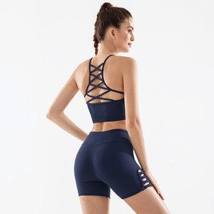 2 Piece Set Women Yoga Set Sexy Sleevelee Sports Bra Gym Shorts Reflective Letter Print Sportswear Fitness Suit Gym Clothing