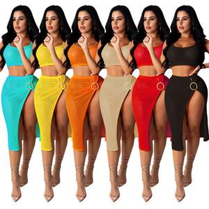 Women two piece dresses sleeveless tank top + skirt dress Fashion hollow out Party Evening Dress summer dress fashion women clothes klw4078