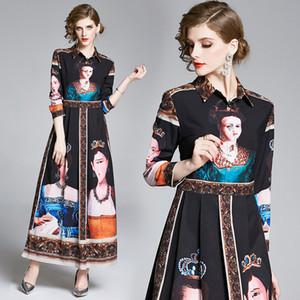 2020 활주로 럭셔리 빈티지 궁전 스타일 퀸 인쇄 디자이너 맥시 드레스 우아한 숙녀 버튼 긴 소매 셔츠 드레스 캐주얼 파티 여자