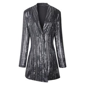 DEAT 2019 Nouveau turn-down col pleine manches Paillettes taille haute Bouton couvert Veste Slim Trench Fashion WF88410L