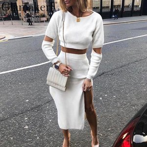 omen's Clothing Dresses Glamaker White elegant knitted sweater winter Women hollow out two piece suit midi dress Autumn sexy party bodyc...