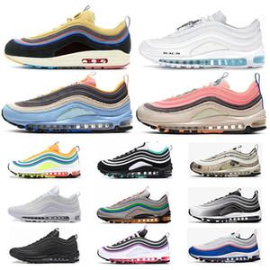 Nike air max 97 new arrival prata iridesce tênis de corrida das mulheres dos homens almofada ouro sneakers athletic designers esportes ao ar livre shoes air sz5.5-11