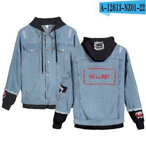 XXXtentacion Denim Jacket falso dos piezas Escudo de Hip Hop Harajuku rapero cantante XXXtentacion Hoodies Hombres Mujeres Chaquetas /