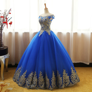 New Royal Blue Ball Gown Quinceanera Dresses 2020 Lace Appliques Sweet 16 Dresses Plus Size Party Prom Evening Gowns QC1532