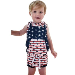 Summer New Fashion Active Kid Baby Boy 4th of July Stars Striped Print Hoodie Vest Tops Shorts Outfit Set Wholesale Free Ship Z4