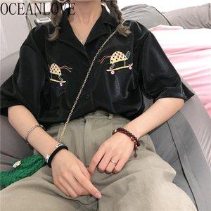 OCEANLOVE 하라주쿠 2020 봄 여름 자수 블라우스 인 한국 단편 슬리브 여성 셔츠 짧은 소매 Blusas Mujer 15231