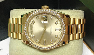 Day-Date 118348 18k Dial de oro amarillo Diamante Bisel Maquinaria automática Reloj de hombre 36mm Relojes de pulsera de lujo para hombre
