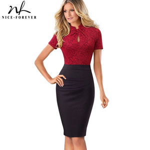 Nice-forever Vintage Contrasto Colore Patchwork Wear To Work Knot Vestidos Bodycon Office Business Guaina Abito donna B430 Y19021409
