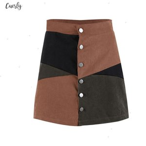 Autumn Women Button Block Suede High Waist Chic Short Skirt Casual Ladies A Line Mini Skirts Female Patchwork Skirts Clothing