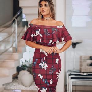 Imprimé Robes Designer Slash cou Petal manches Robes d'été sexy Bureau Vêtement Mode Flore Femmes