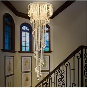 Moderna goccia di pioggia di cristallo libero Lampadario Illuminazione scala a chiocciola Lampadari per l'illuminazione in acciaio Hotel Villa Sala Villa Duplex scala in acciaio