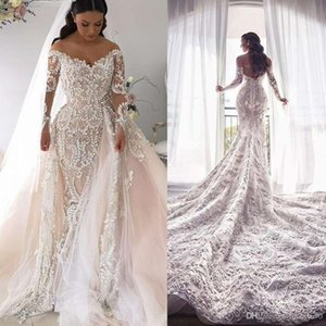 Desmontable de lujo de boda del tren vestidos de novia vestidos de sirena extraíble Blush rosa 2019 de encaje de manga larga completa del hombro vestido de novia
