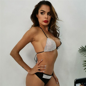 Dois ternos Praia Bikini Set Embutidos strass Halter Bras Tops Praia sunga Wear Feminino Swimsuit Roupa 39yx E19