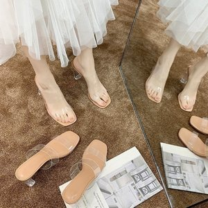Unique2019 Word One Summer Transparent Bringen Sie Super High Sandalen Frau Grobkristall Mit Sexy Cool Slipper
