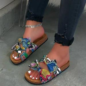 나비-매듭 플립플롭 여성 신발 뱀 인쇄 평 오픈 슬리퍼 여성 캐주얼 해변 슈퍼 Zapatos De Mujer