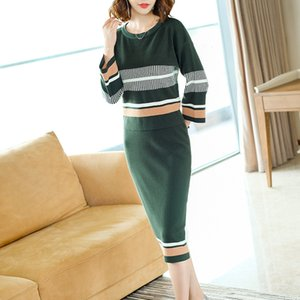 Nexiia High Quality Striped Pullover Knitted Suit Women Slim Knitted Sweater Two Pieces Set Long Sleeved O Neck Skirt Suits