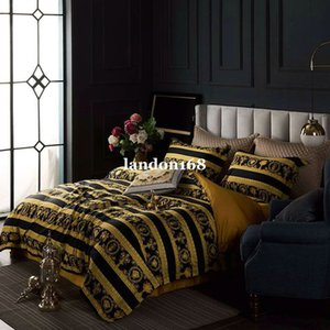 European luxury 60s long-staple cotton bedding supplies High-end palace black gold baroque style bed linen four-piece bedding sets