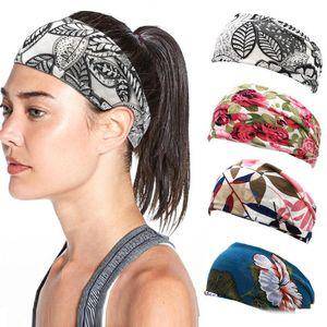 Mulheres Headband Yoga impressão flor Desporto Faixa de Cabelo Antiperspirant Broadside Scarf 2020 Moda Popular Hot Sale