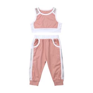 Emmababy 2019 enfant en bas âge Bébés filles Vêtements d'été hauts écourtés réservoir + Mesh Pants Sport 2PCS Tenues Mesh Survêtement 1-6Y Vêtements pour enfants