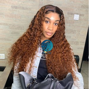 1B Honey Blonde Ombre Curly Full Lace Human Hair Wigs Pre plucked With Baby Hair Brazilian Remy Frontal Closure130% For Black Women