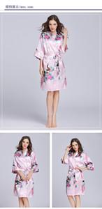 Summer simulation silk pajamas thin peacock printed pajamas medium sleeve plus size home clothes