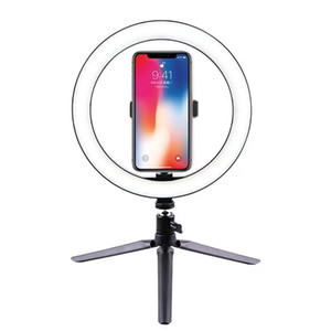 2019 hot photo studio 3 color LED ring light 16cm 20cm 26cm LED self-timer ring light photography light tripod phone clip