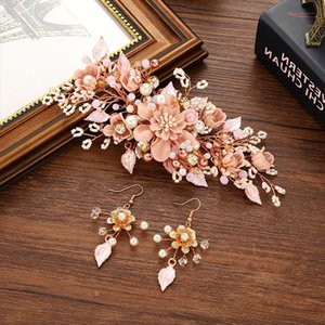 Bridal Wedding Simulation Pearl Beauty Hair Jewelry Set Ladies Elegant Flower Hair Pins Earrings Rhinestone Hair Accessories Set