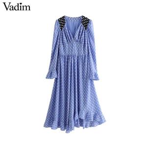 Vadim Frauen Stern Druck gekräuselten Maxikleid V-Ausschnitt lange Glocke Ärmel plissiert Vintage lässig süße lange Kleider Vestidos QB030