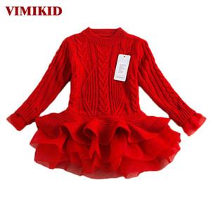 Kalın Sıcak Kız Elbise Noel Düğün Elbiseleri Örme Şifon Kış Çocuk Kız Elbise Çocuk Giyim Kız Elbise K1 J190514