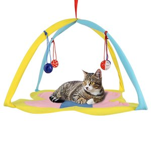 Pet Cats Hammock Bed Ball Toys Hanging Bells Toys Platform Cat Pad House Pet Furniture Cat House Kennels Cats Supplies