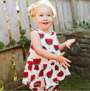 children's set Girls Summer Short sleeve cartoon watermelon printed T-shirt + pants 2pcs Suit sets