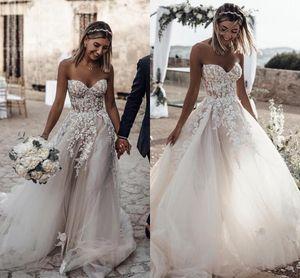 2019 Boho Verão Praia Vestidos de Casamento Querida Lace Apliques de Praia Vestidos de Noiva para Casamentos Baratos Custom Made Vestidos De Casamento