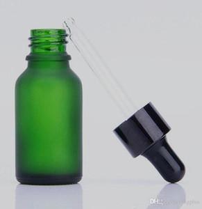 cigarette électronique vape flacon compte-gouttes en verre vert dépoli 10ml parfum flacon en verre liquide vape e avec capuchons dorés argent noirs