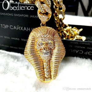 Hot fashion 24K Gold Iced out Egyptian Pharaoh copper Crystal Zircon Diamonds Pendant Necklace Vacuum Plated Jewelry pop Necklace