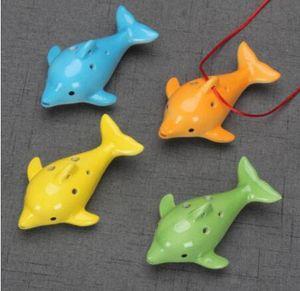 Mignon 6 trous en céramique Dolphin Ocarina jouet éducatif Instrument de musique Forme animale éducation Musique Flûte charme
