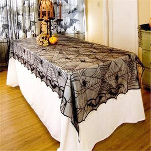 Halloween Spiderweb dentelle noire chauve-souris Nappe Araignée Party Table Accueil Party Decoration Haunted Bar Props Tablecover