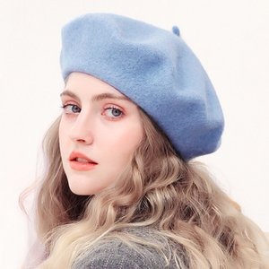 Sombreros de lana Beret mujeres del invierno del sombrero francés de color sólido niñas de moda otoño invierno de la boina del sombrero para las mujeres el casquillo plano del sombrero de fieltro boinas