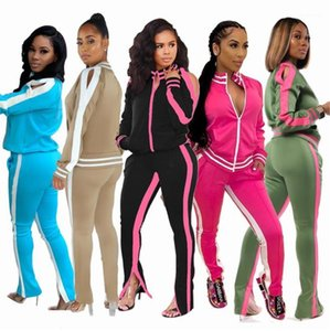 Hoodies Long Pants 2PCS Sports Sets Casual Running Fitness Slim Ladies Two Pieces Outfits Dew Shoulder Striped Womens Tracksuits Cardigan