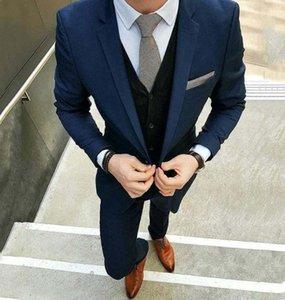 Costumes Navy Blue Men Suit Mens Wedding Suits Bridegroom Custom Made Slim Fit Designer Formal Groom Tuxedo Blazer Best Man Prom
