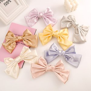 Мягкая ткань Solid Color Bowknot Шпильки для детей 7 цветов Клип Tie Knot волос Детский ободок для волос Аксессуары девушки
