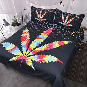 Maple Leaf Bettwäsche, Geometric Triangle Bettbezug, Regenbogen psychedelischen Bett Set, Stunning Schwarz Bedspread CJ191203