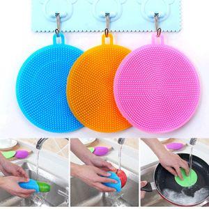 toptan Mutfak Aksesuarları Silikon Bulaşık Yıkama Fırçası Bowl Pot Pan Yıkama Temizleme Fırçalar Pişirme Aracı Temizleyici Sünger ovma