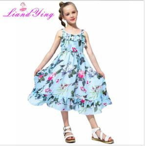 Neue beste Sommerkleid des Verkaufsmädchenmittelschule Kinder Böhmen Rock Chiffon Blumen-Hosenträgerrockstrand