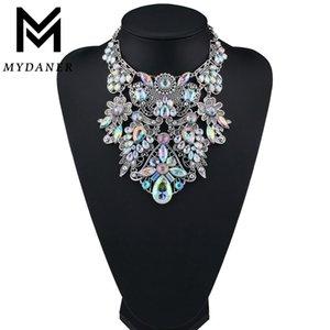 Hoker colares MYDANER marca de moda strass coloridos Bohemian Boa Qualidade Chunky Collar Declaração Mulheres Choker Maxi Colar Je ...